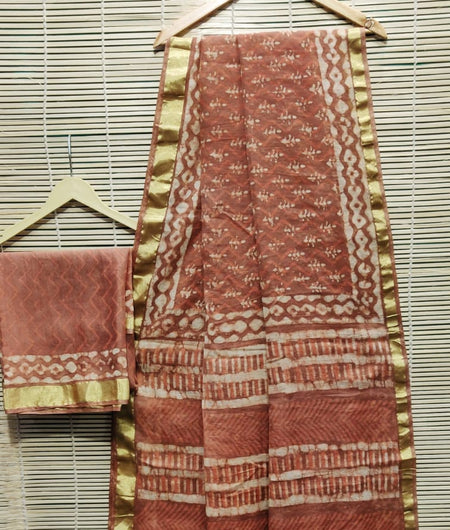 Handcrafted Chanderi Silk Hand Print Rust Saree