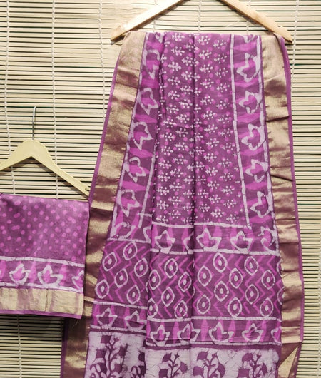 Handcrafted Chanderi Silk Hand Print Purple Saree