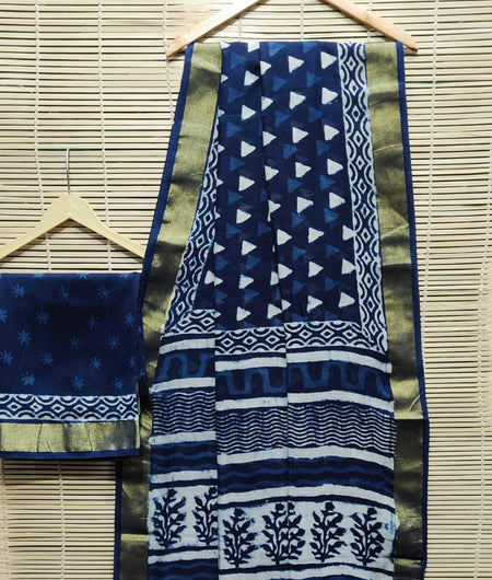 Handcrafted Chanderi Silk Hand Print Indigo Blue Saree