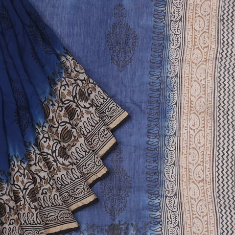 Chanderi Silk Cotton royal blue saree with tree pattern