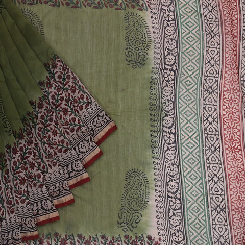 Chanderi Silk Cotton Moss green saree with paisely pattern