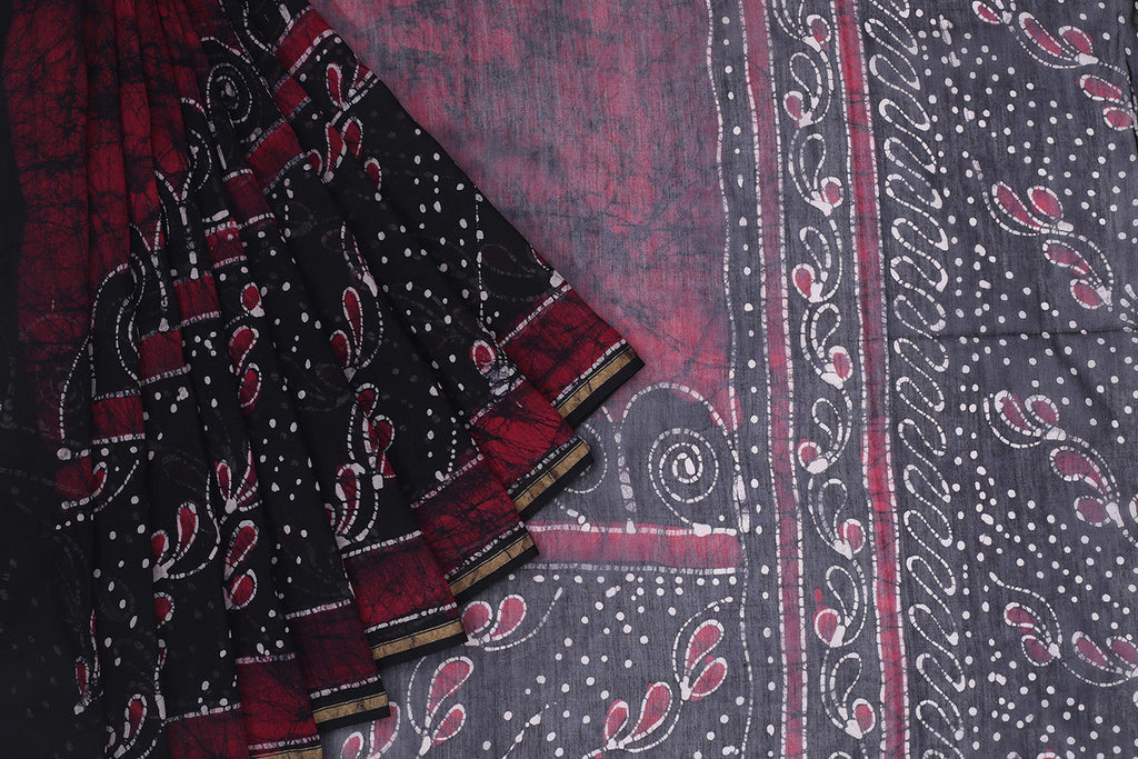 Chanderi Silk Cotton Black Saree With Marbling Pattern Pattern
