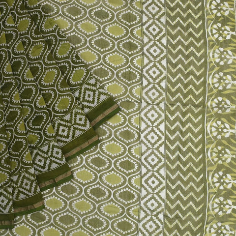 Chanderi Silk Cotton olive green saree with jaal pattern pattern