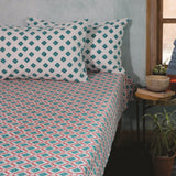 Hand Block Printed Cotton Bedsheet With 2 Pillow Cover 228.6cm x 254cm