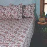 Hand Block Printed Cotton Bedsheet With 2 Pillow Cover (108in x 108in)