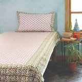 Hand Block Printed Cotton Bedsheet With 2 Pillow Cover (90in x 100in)