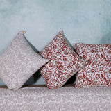 Set of 5 Bagru Hand Block Print Decorative Cushion Cover in Cotton Duck-18in X 18in