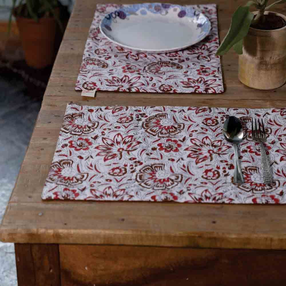 Floral Hand Block Print Table Mats (Set of 6) and Runner