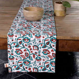 Wardaa Green Block Print Table Mats (Set of 6) and Runner