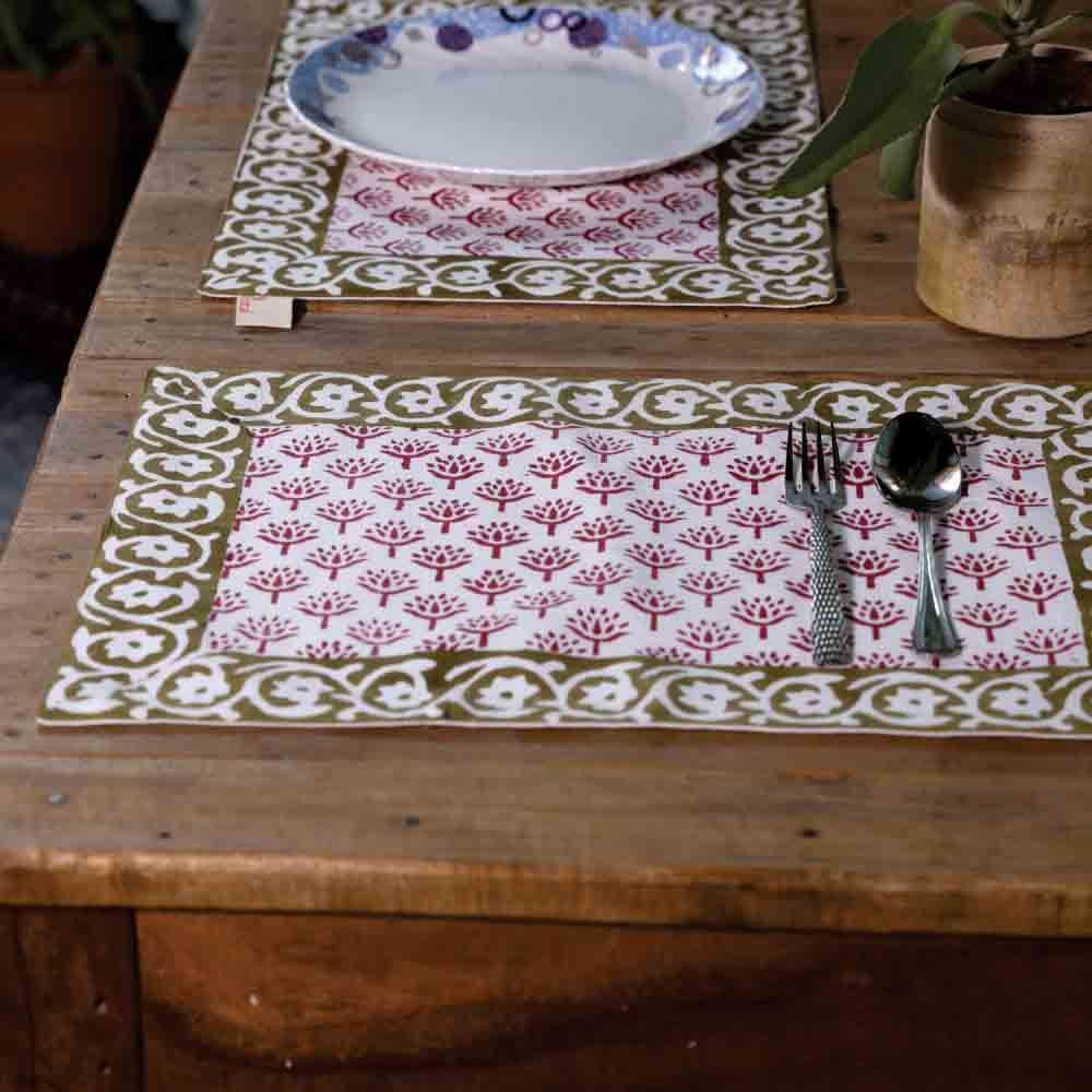 Peepal Hand Block Print Table Mats (Set of 6) and Runner
