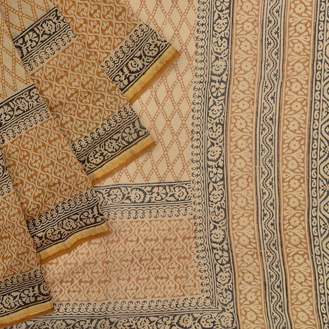 Chanderi Silk Cotton beige saree with jall