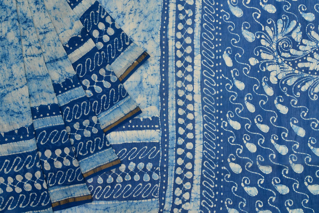 Chanderi Silk Cotton blue and white saree with shibori