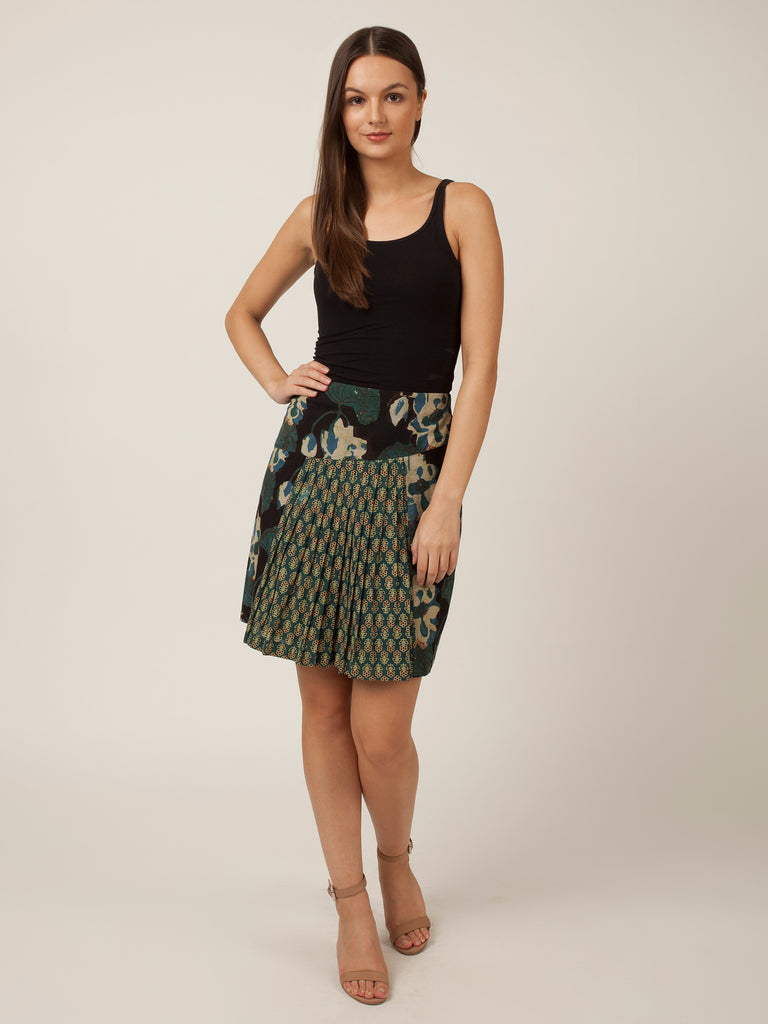 Hand Block Green Pure Cotton Skirts