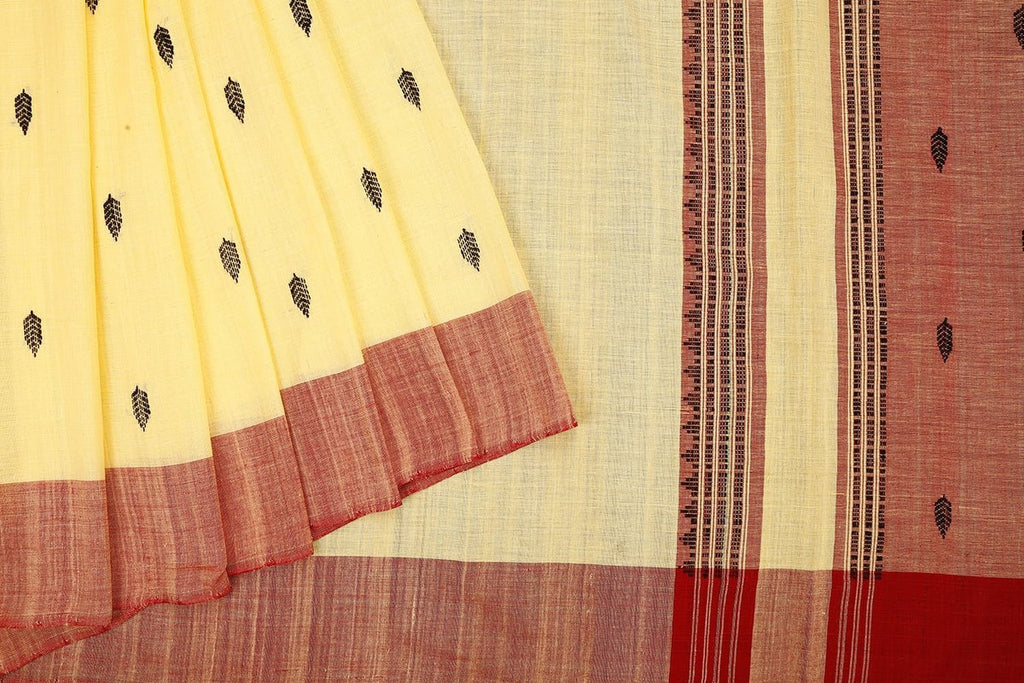 Assam cotton saree in cream and maroon