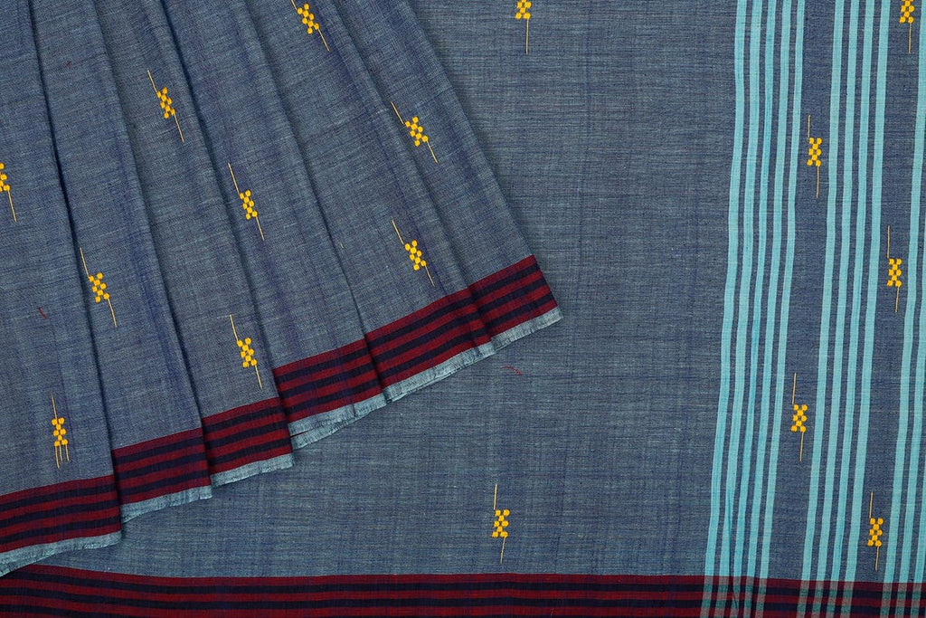 Assam cotton saree in Steel blue