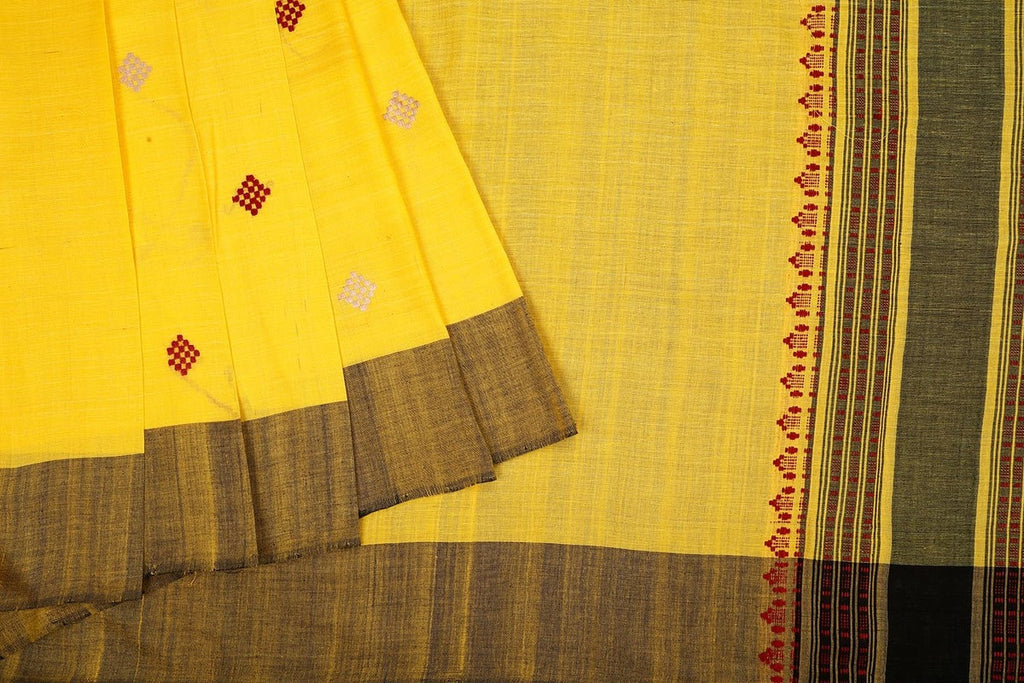 Assam Cotton Saree In Yellow And Black