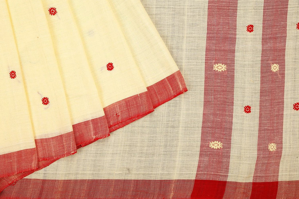 Assam cotton cream and red saree
