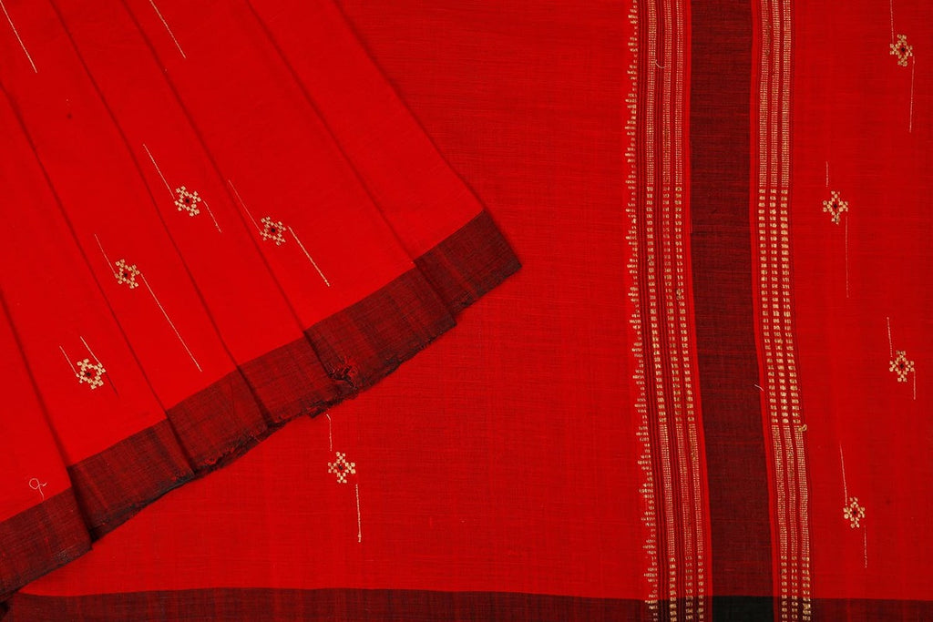 Assam Cotton Red Saree