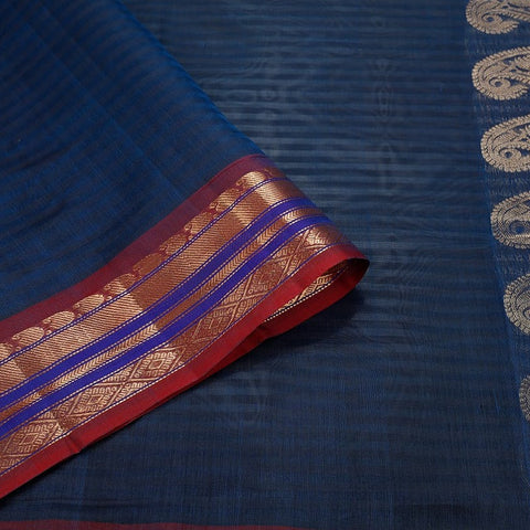 Gadwal Handloom blue Silk cotton Saree