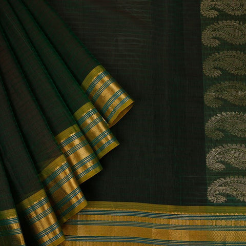 Gadwal Handloom green Silk cotton Saree