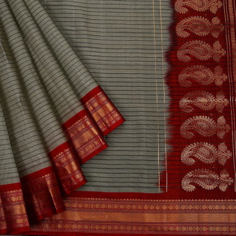 Gadwal Handloom grey Silk cotton Saree