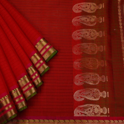 Gadwal Handloom Red Silk cotton Saree
