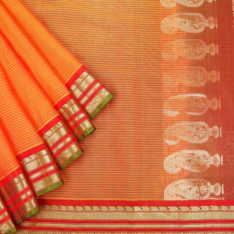 Gadwal Handloom Orange Silk cotton Saree