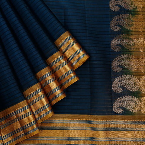 Gadwal Handloom navy blue Silk cotton Saree