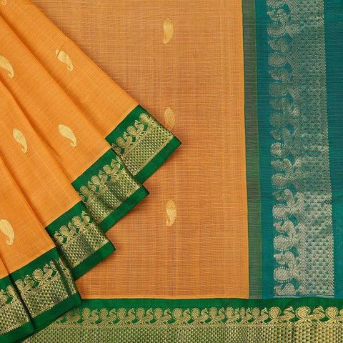 Gadwal Handloom orange Cotton Saree