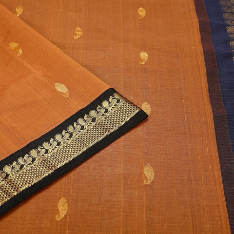 Gadwal Handloom Peach Cotton Saree