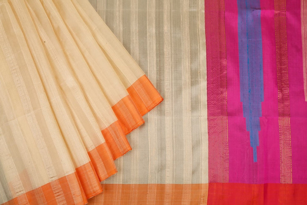 Handloom Cream Raw Silk Saree