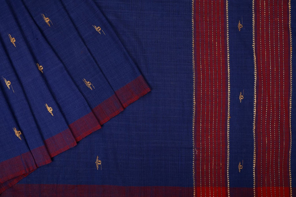 Assam Cotton Saree In Cobalt Blue
