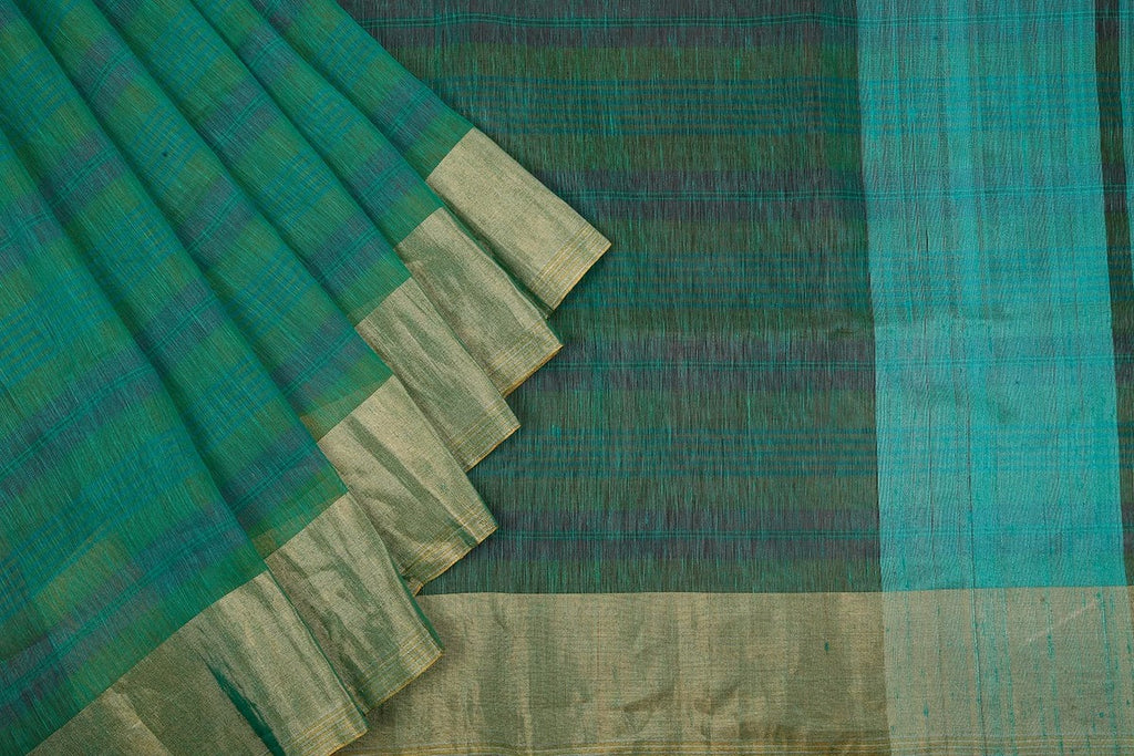 Handloom Green Linen Silk Saree