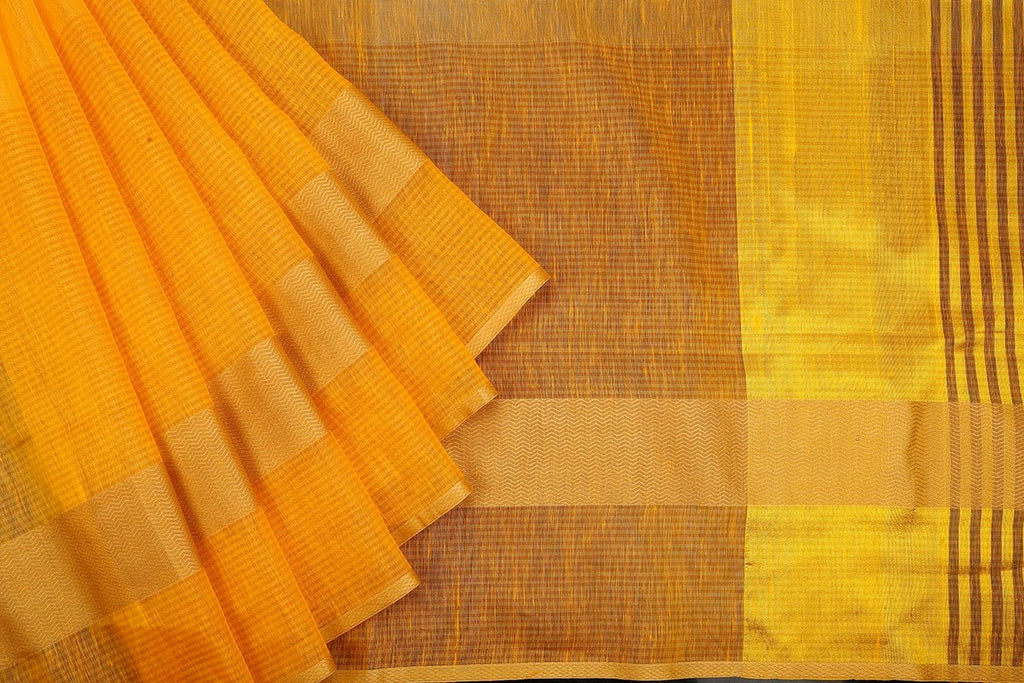 Handloom Yellow Linen silk Saree