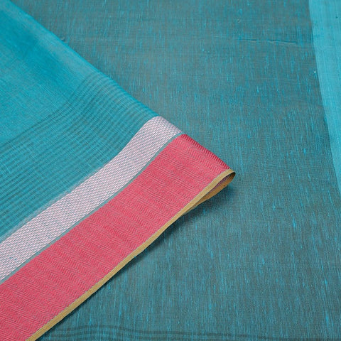 Handloom blue Linen silk Saree