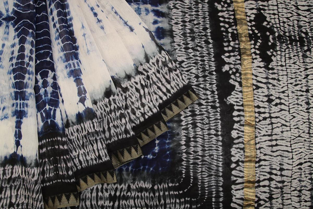 shibori chanderi silk-cotton black and white shibori pattern Saree
