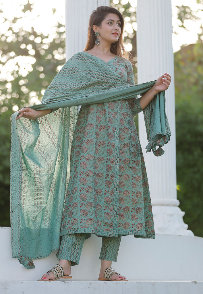 Green Floral Printed Kurta With Lehariya Printed In Pant And Dupatta