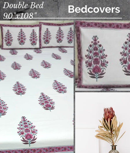 White and Maroon Handblock Printed Cotton Double Bedcover with Pillow Covers (Set of 3)