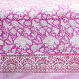 Pink and White Handblock Printed Cotton Double Bedcover With Pillow Cases (Set of 3)