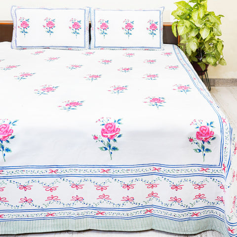 White and Pink Handblock Printed Cotton Double Bedcover With Pillow Cases (Set of 3)