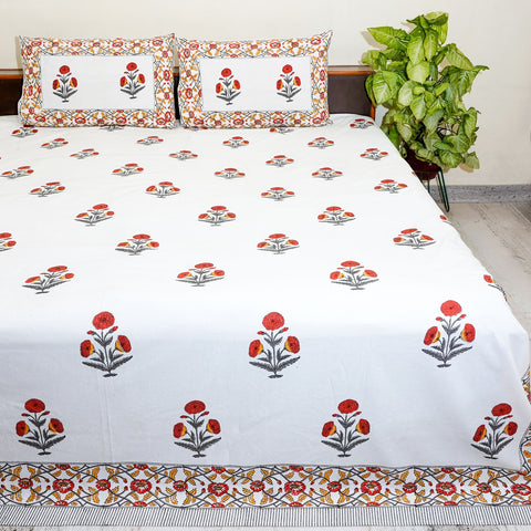 White and Maroon Handblock Printed Cotton Double Bedcover With Pillow Cases (Set of 3)