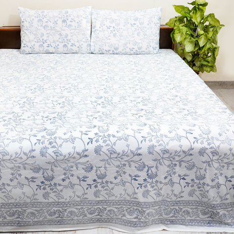 White and Grey Handblock Printed Cotton Double Bedcover With Pillow Cases (Set of 3)