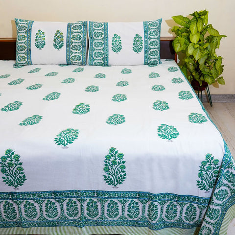 White and Green Handblock Printed Cotton Double Bedcover With Pillow Cases (Set of 3)