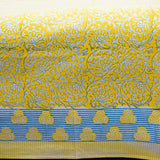 Yellow and Blue Handblock Printed Cotton Double Bedcover With Pillow Cases (Set of 3)