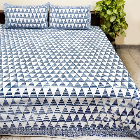 White and Blue Handblock Printed Cotton Double Bedcover With Pillow Cases (Set of 3)