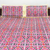 Multicolor Handblock Printed Cotton Double Bedcover With Pillow Cases (Set of 3)