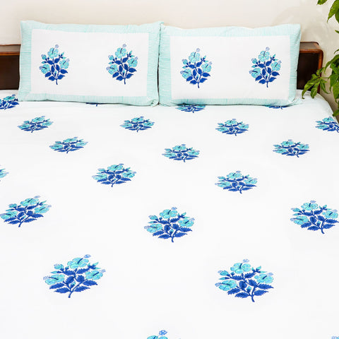 Blue Handblock Printed Cotton Double Bedcover with Pillow Cases (Set of 3)