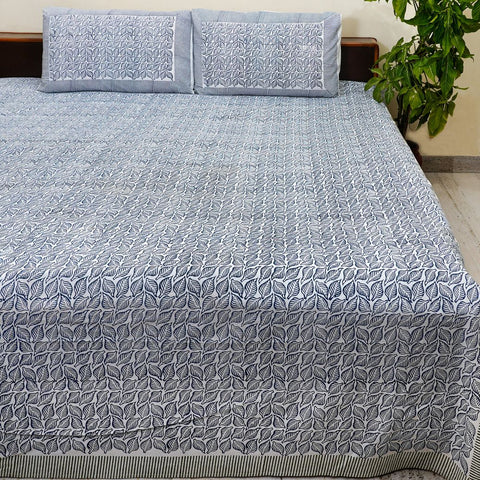 Grey Handblock Printed Cotton Double Bedcover with Pillow Cases (Set of 3)