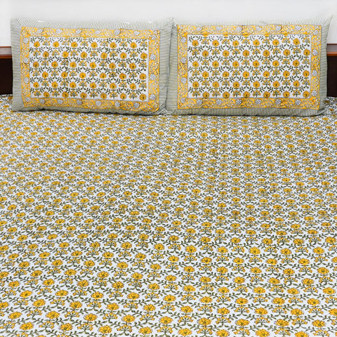 Yellow Handblock Printed Cotton Double Bedcover with Pillow Cases (Set of 3)
