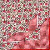 Red Handblock Printed Cotton Double Bedcover with Pillow Cases (Set of 3)